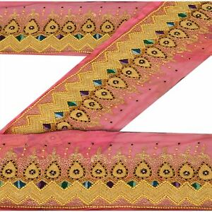 Qualified Vintage Sari Border Antique Hand Beaded Indian Trim Sewing Pink Zari Lace Punctual Timing Antiques
