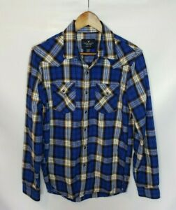 American-Eagle-Men-039-s-Blue-White-Plaid-Seriously-Soft-Snap-Down-Long-Sleeve-Shirt