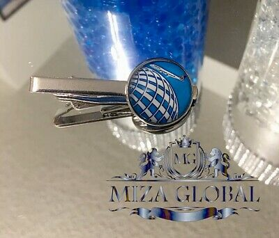 """United Airlines Tie Clip Logo With Glass Dome 3//4"""""""