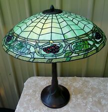 "26"" TIFFANY STYLE STAINED GLASS COBWEB DESIGN JEWELED GRAPE LAMP"