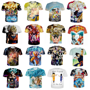 New-Women-Men-039-s-Dragon-Ball-Z-Vegeta-Goku-Super-Saiyan-3D-Print-Casual-T-Shirt