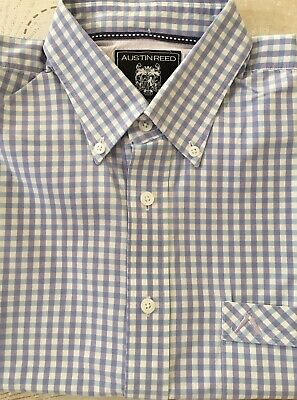 Mens Austin Reed White Blue Purple Check 100 Cotton Shirt Size M Ebay