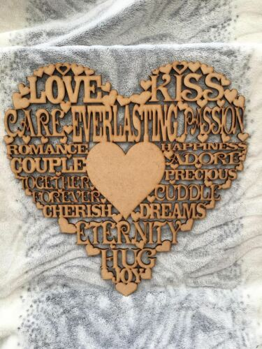 3.2MDF LOVE WORDING HEART WOODEN CUT OUT CRAFT PLAQUE 20CM X 20CM