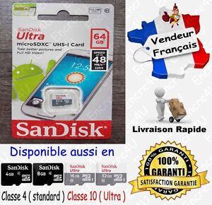 Carte-Memoire-48-MB-s-SANDISK-ULTRA-CL10-Micro-SDXC-SDHC-64-32-16-8-4-Go-Gb