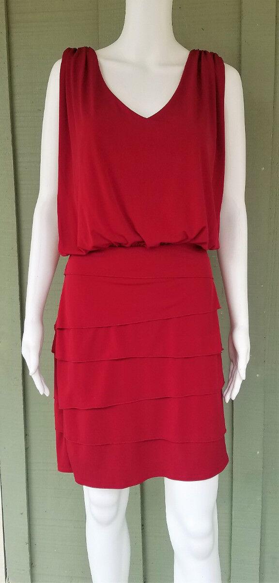 LAUNDRY Shelli Segal Cranberry Red Blouson Draped Dress 10