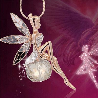 Women Angel Wings Butterfly Wing fairy Rhinestone Crystal Necklace Top Sale
