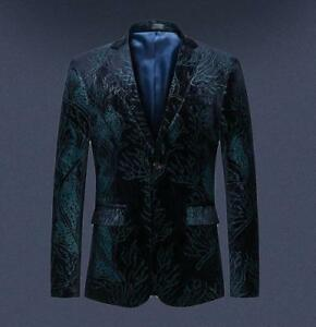Mens Lapel Floral Printed Formal Dress Jackets Button Suit Blazer Coat Plus Size