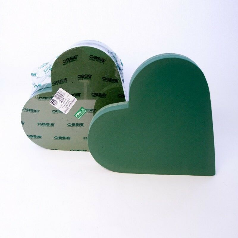 Wet Memorial Flower Tribute Plastic Backed Oasis  33cm Funeral Foam Heart
