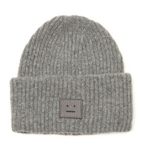 Acne Studios Pansy Face Patch Wool Beanie GREY