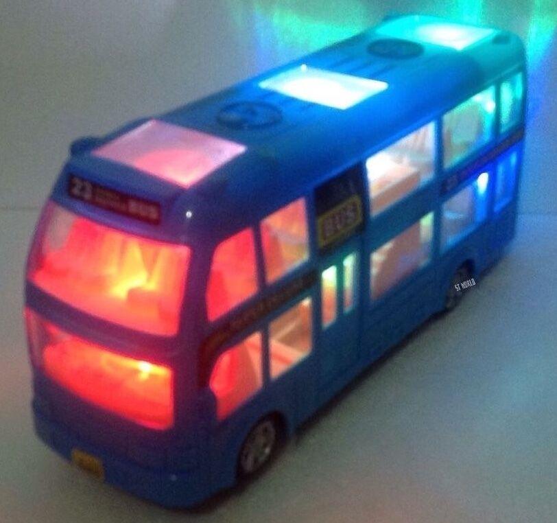 Londres Doble Decker Autobús turístico Bump & Go blu-Luz Led Y Sonido Souvenir De Juguete