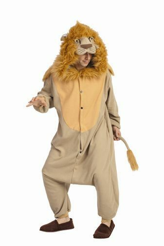 ADULT LEE THE LION COSTUME LIONESS CUB JUNGLE ANIMAL PAJAMAS COSTUMES JUMPSUIT  sc 1 st  eBay & Adult Lee The Lion Costume Lioness Cub Jungle Animal Pajamas ...