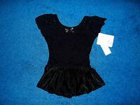 Girls Black Bling Dance Skate Gymnastics Leotard Outfit Size 6 - 7 Small