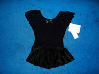 Girls Black Bling Dance Skate Gymnastics Leotard Outfit Size 6 - 7 Small
