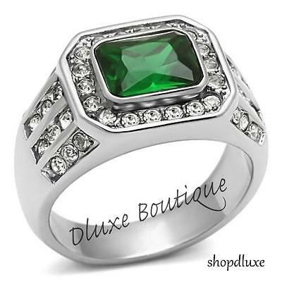MEN'S 3.45 CT EMERALD CUT GREEN EMERALD CZ SILVER STAINLESS STEEL RING SIZE 8-13