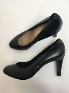 WOMENS-F-amp-F-BLACK-FAUX-LEATHER-SLIP-ON-HIGH-HEEL-COURT-SHOES-SIZE-UK-6-EU-39