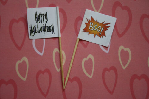 24 Halloween Cup Cake Toppers Party Flags Decorations Boo Spider Ghost Picks