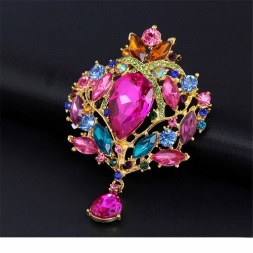 CRYSTAL VINTAGE BROOCHES WOMEN EXTRA ANTIQUE GOLD SILVER DIAMANTE PIN VERY LARGE