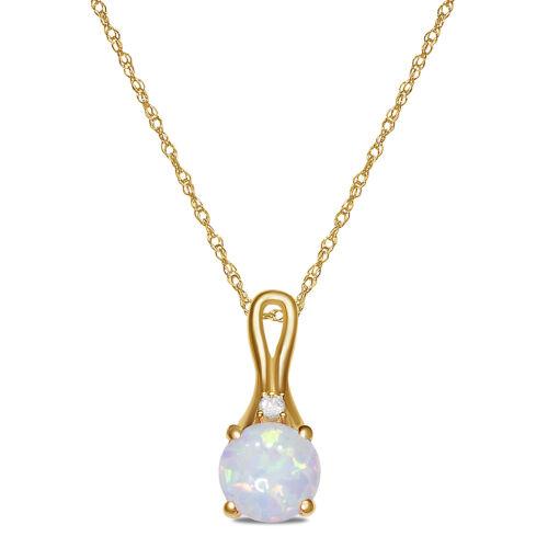 14K Or Jaune Sur Rond Opale Blanc Solitaite Collier Pendentif