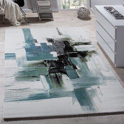 Designer Grey White Rug Teal Short Pile Thick Modern Carpet Bedroom Small Large