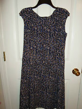 CHAPS by Ralph Lauren Blue Black Taupe Splatter Sheath Dress Large NWT