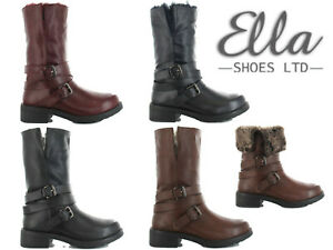 Ladies-Ella-Boots-Faux-Fur-Low-Heel-Buckle-Turn-Down-Mid-Calf-Winter-Warm-Shoes