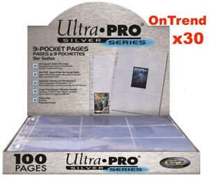 ULTRA-PRO-SILVER-SERIES-9-POCKET-POKEMON-TRADING-CARD-SLEEVES-30-x-PAGES-SHEETS