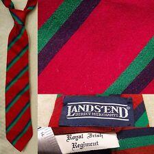 Lands' End 'Royal Irish Regiment' Striped Silk Wool Tie EUC Red Green Blue Trad