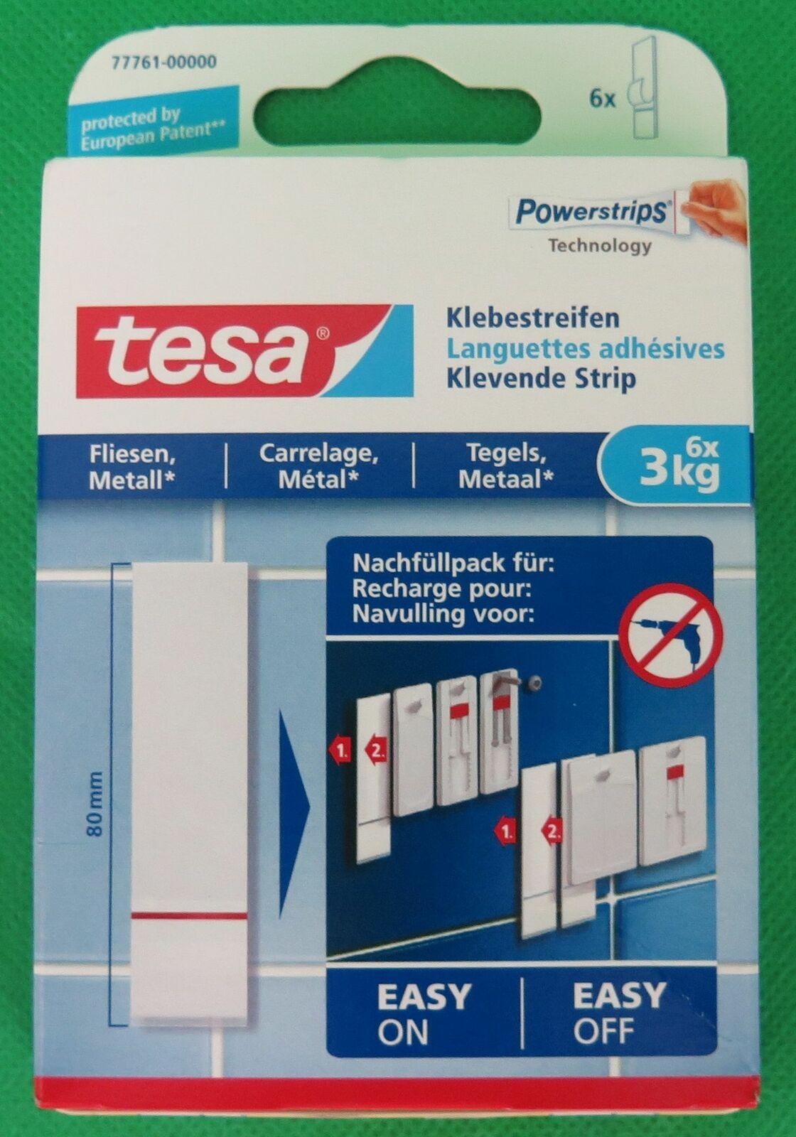 tesa Klebestreifen bis 3kg 77761 geeignet für Fliesen und Metall 6 Stück