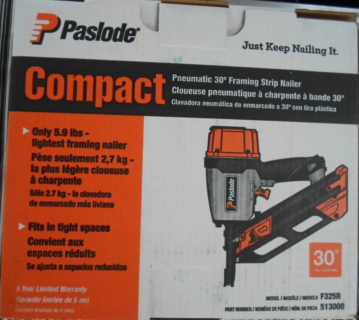 Paslode 513000 F325r Pneumatic 30 Degree Compact Framing Nailer | eBay