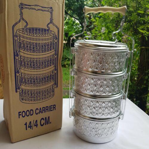 1x 4 Tier Thai Tiffin Lunch Box Aluminum Vintage Bento Food Carrier Serve Monk