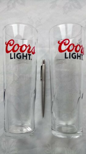 PAIR COORS LIGHT PINT GLASSES 450 GM NEW UNUSED FROM BOX 100/% GENUINE 21 CM HIGH