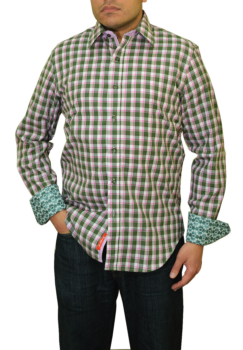New Justing Pink   White   Green Plaid Striped Button Down Euro Casual Shirt