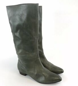 Wallis-Size-39-UK6-Ladies-Green-Leather-Mid-Calf-Pull-On-Pointed-Booties-Boots