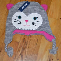 NWT Old Navy Toddler Girl Kitty Cat Knit Hat Fleece Lining 12-24 mo, 2T/3T 4T/5T