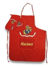 USMC Marine Corps Marines BBQ Barbeque Apron Set (Red)