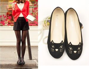 Hot-Fashion-New-Cute-Cat-Face-Womens-Girls-Shoes-Loafers-Low-Heel-Comfort-Flats