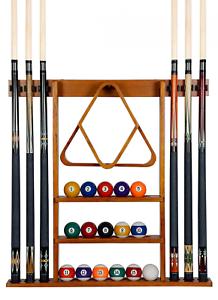 Pool Table Wall Mount Rack Mahogany For 6 Cues Billiard Balls Racks Accessories