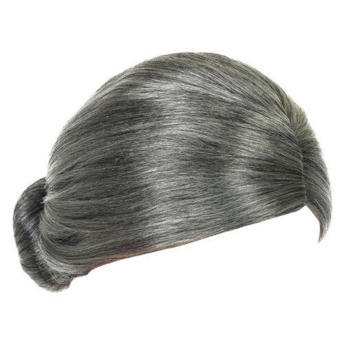 Kids Adults Granny Fancy Dress Grey Bun Wig WORLD BOOK DAY