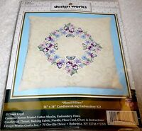 Design Works Candlewicking Embroidery Kit Floral Pillow 14 X 14 Item E103