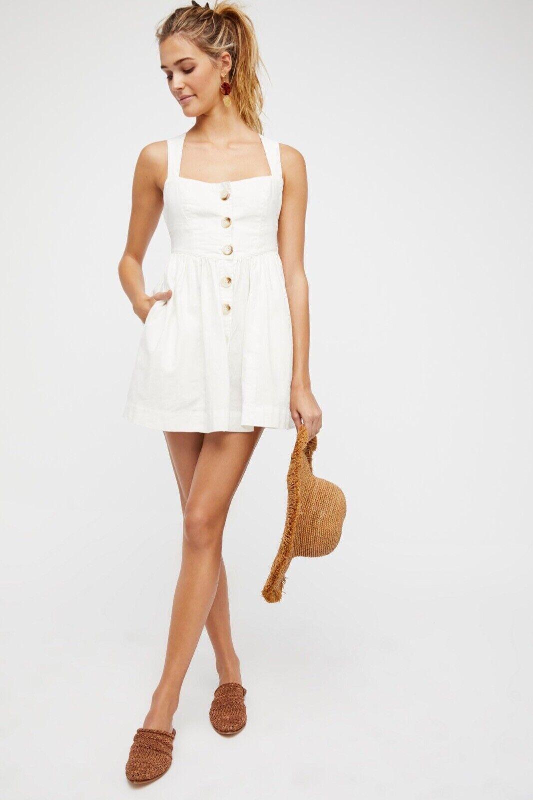 Free People Carolina Mini Dress in Weiß Größe  10 M L Linen Sleeveless New