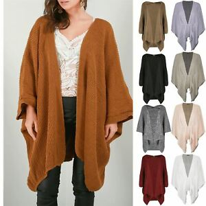 Ladies-Womens-Oversized-Knit-Batwing-Waterfall-Poncho-Sweater-Open-Cape-Cardigan