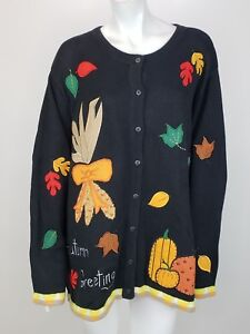 Details about New Quacker Factory Cardigan Sweater 2X Autumn Greetings  Pumpkin Leaves QVC