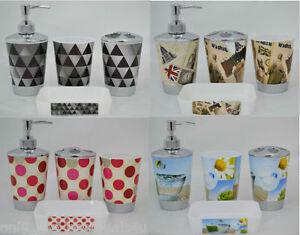 Bathroom-Accessory-Gift-Set-Soap-Dish-Dispenser-Toothbrush-Holder-luxury-4pcs
