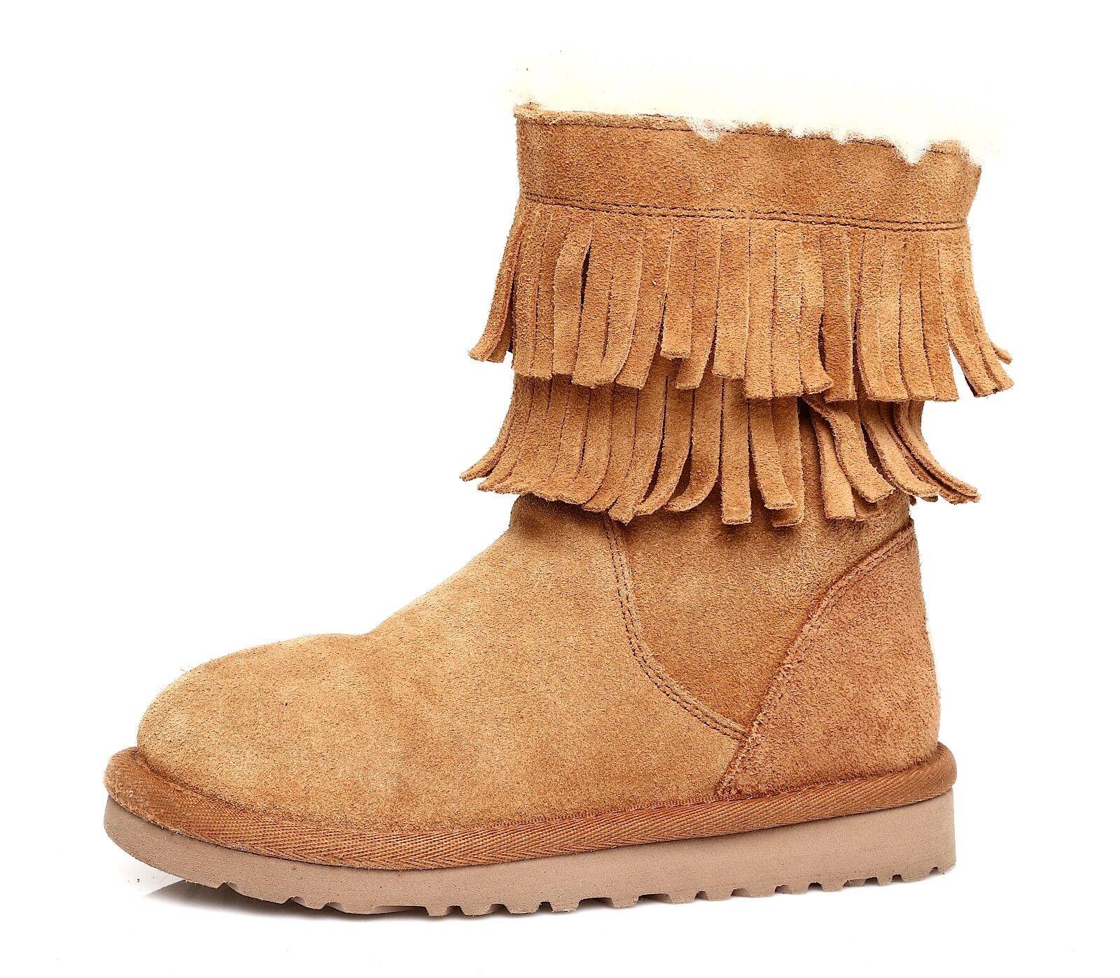 UGG Australia Scarlette Suede Chestnut Boot Girls Sz 11 T 4360 *