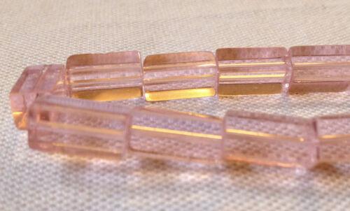 30 Rectangulaire Square Couleur rose fabrication de bijoux perles de verre 12 x 7 mm G0095