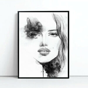 Amelie Watercolour Monochrome Print Poster Canvas Scandi Black White pint