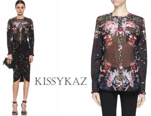Cotton Confetti Blouse Shirt F36 8 Top Uk Black Floral amp; Givenchy Roses Button Tw65qRH