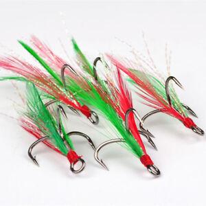 50Pcs//Set Red Fishhook Carbon Steel Treble Jig Hooks Fishing Hooks 2//4//6//8//10.GG