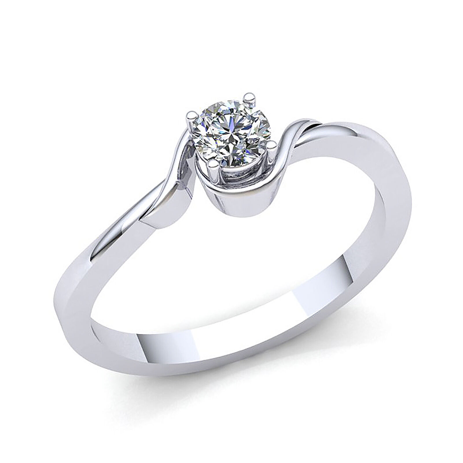 Real 0.5Ct Round Cut Diamond Ladies Solitaire Engagement Ring Modern 10Kt gold