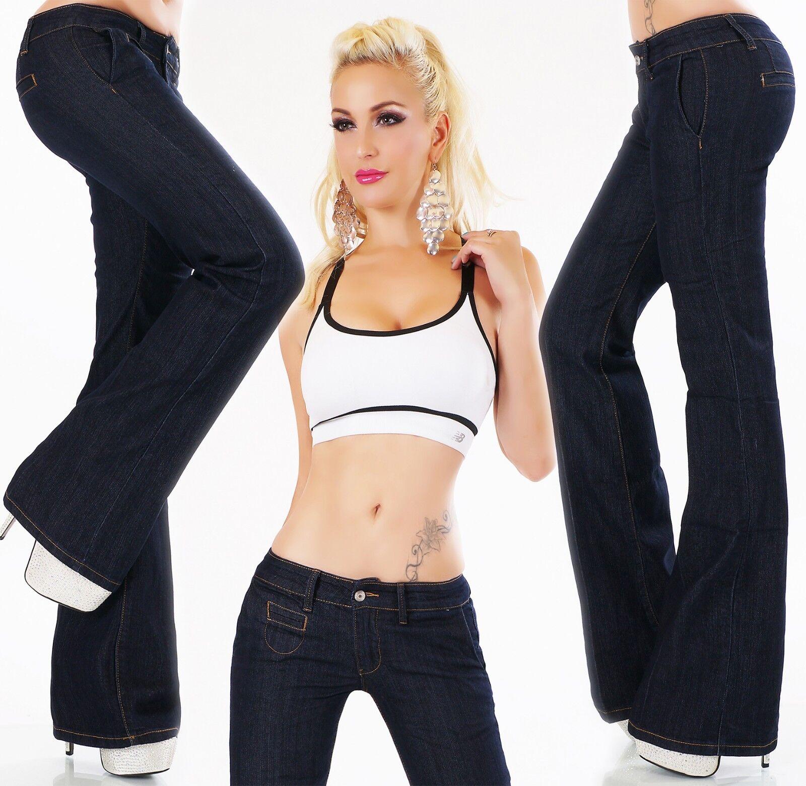 Women's Jeans Hip Pants Bootcut Flarecut Flares Wider Flare Dark bluee 34-42